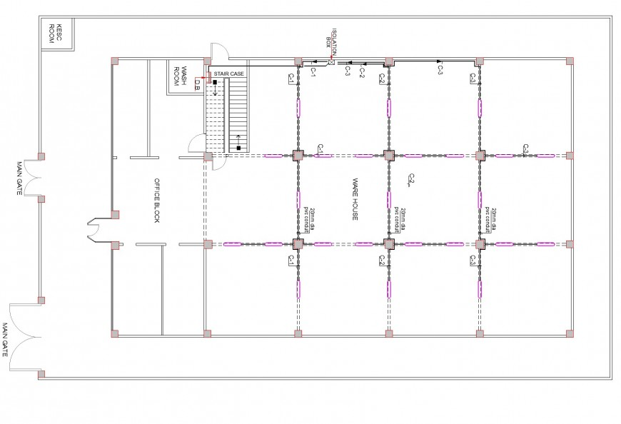 C.S ware house line plan detail dwg file