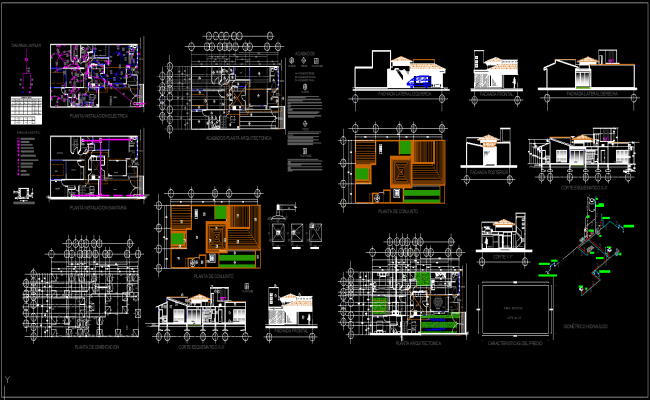 Modern bungalows autocad file