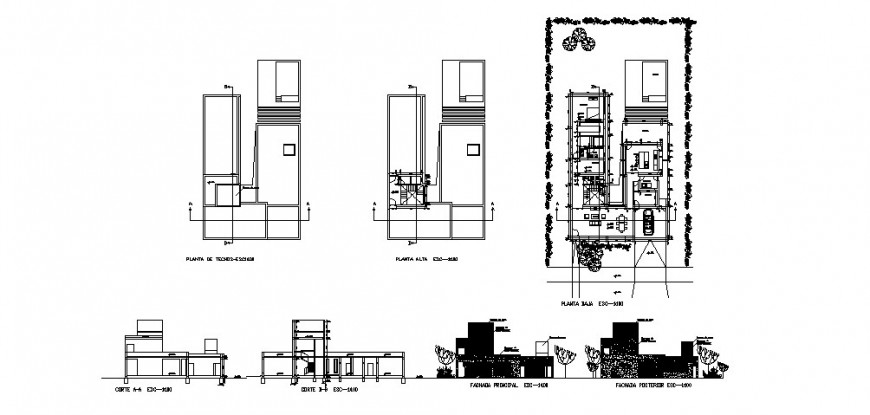 C shape house plan detail working drawing in dwg AutoCAD file.