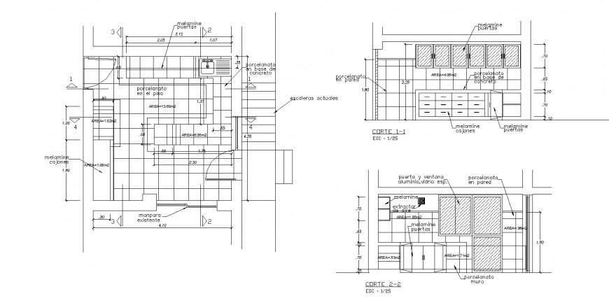 C shape kitchen platform design drawing in dwg AutoCAD file.