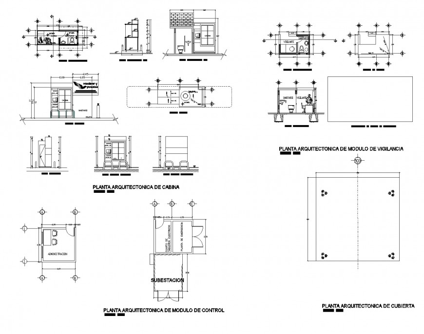Cabinet architectural plan, elevation and section autocad file