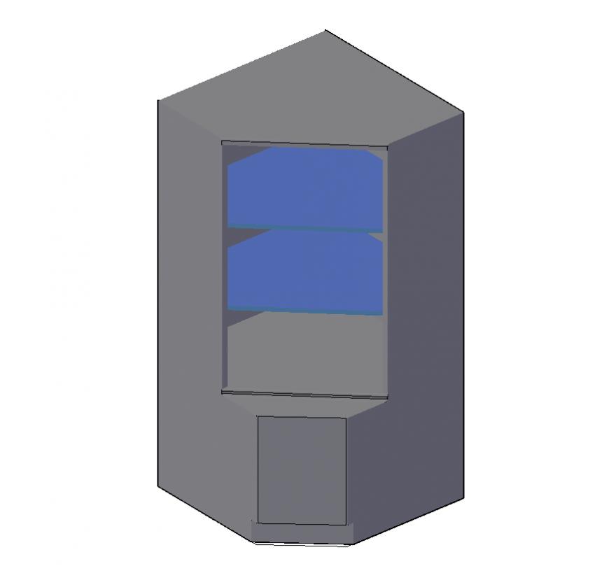 Cabinet detail elevation 3d model layout autocad file