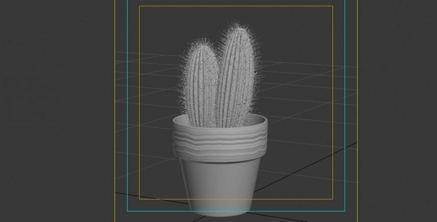 Cactus plant block detail 3d model layout revit file