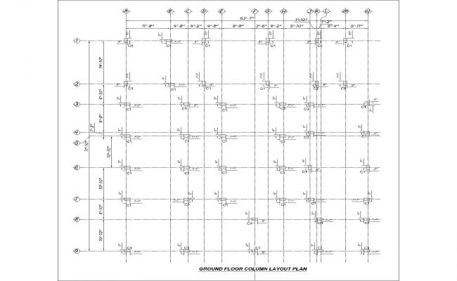cad column lay out