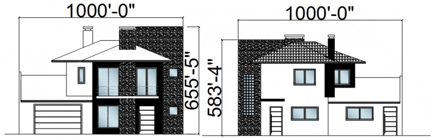 CAD 2d drawings elevation of housing bungalow dwg file