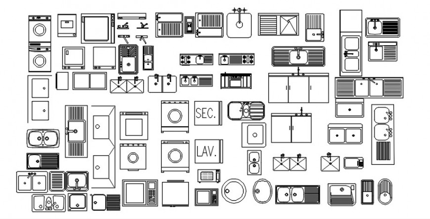 CAD 2d view of kitchen automation units drawings in AutoCAD