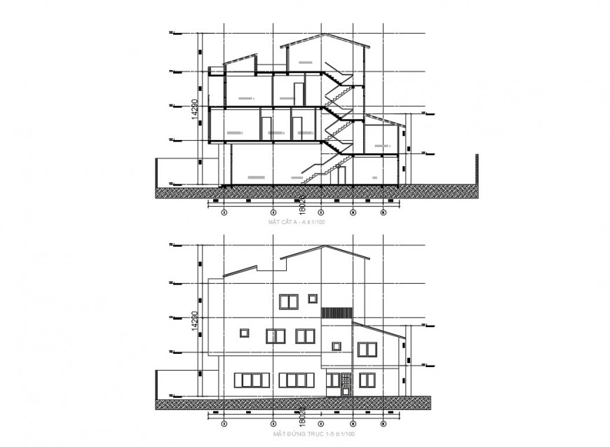 CAD apartment elevation and section dwg file