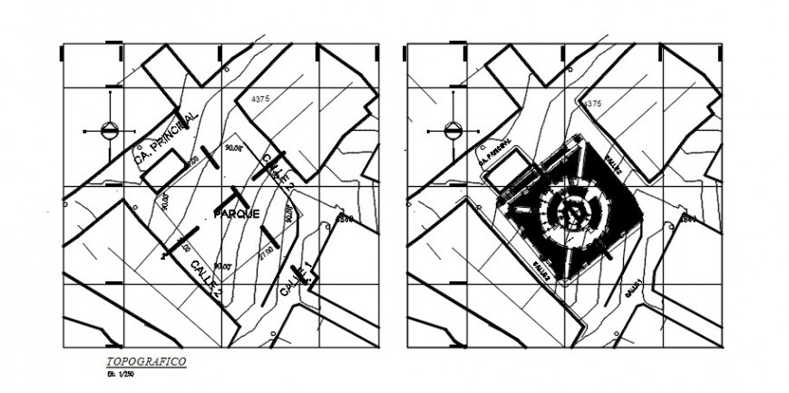 CAD area detailing topographical plan dwg file