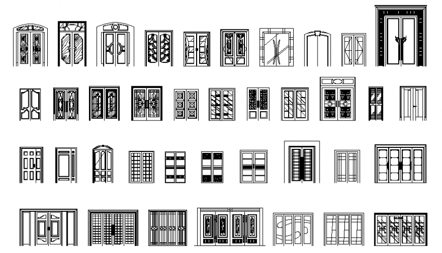 Cad blocks details of net double and large doors elevation cad drawing details dwg file