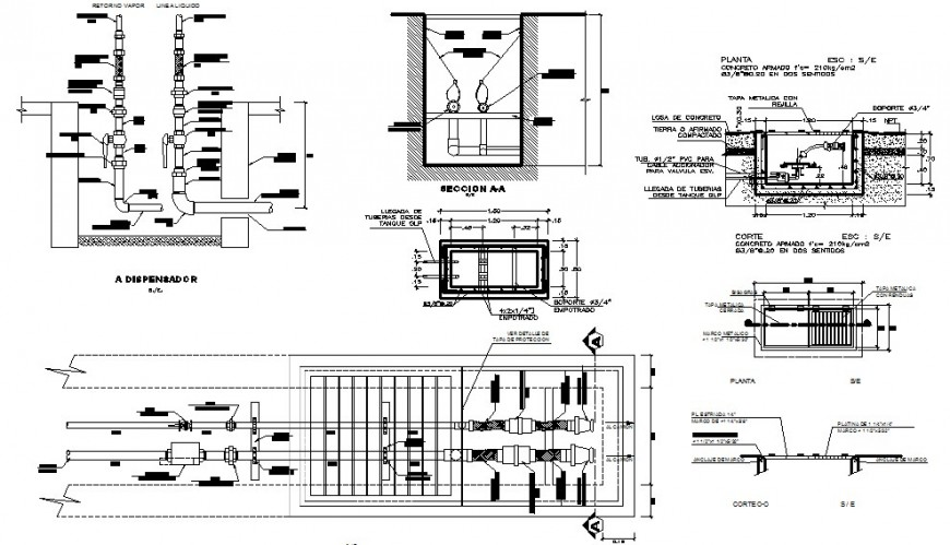 cad detail of supply to the dispenser