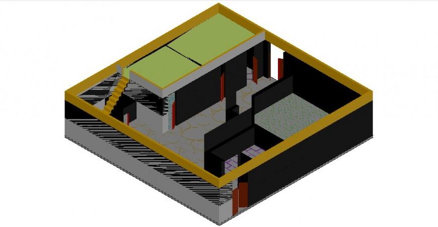CAD drawing details 3d model of bungalow design dwg autocad file