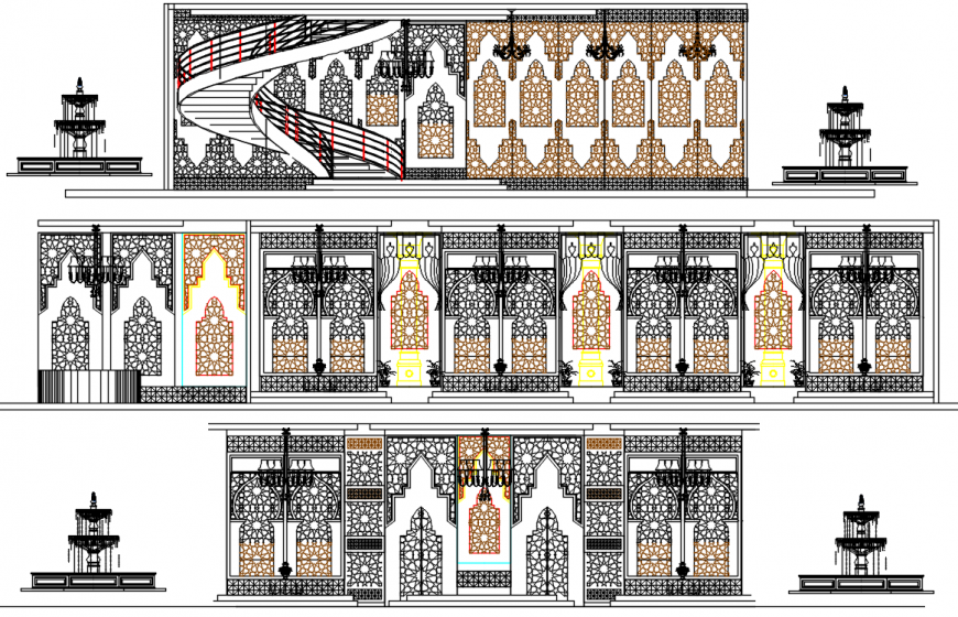 CAD drawing details of design and fountain block dwg file
