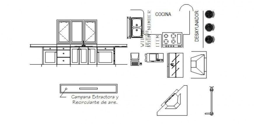 CAD drawing details of kitchen elevation autocad software file
