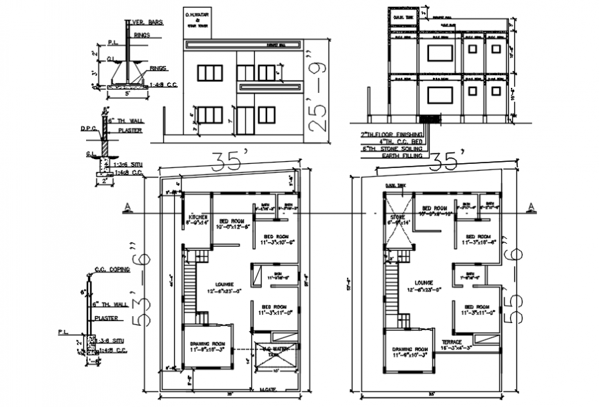 CAD drawing of the residential house floor plan in autocad software file