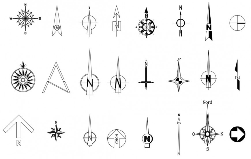CAd drawings details of  north symbol compass