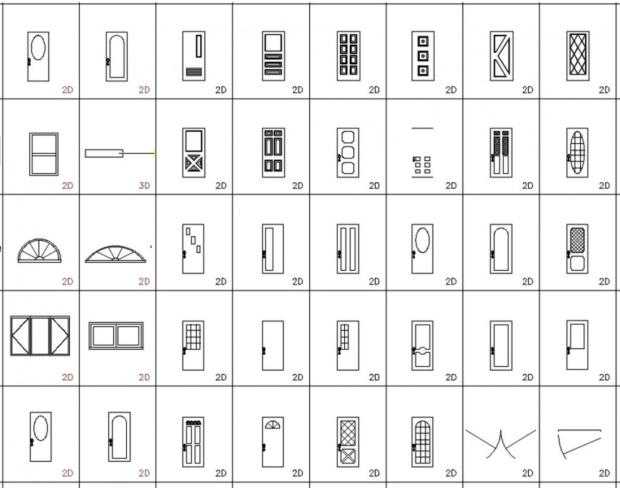CAd drawings details of  top  view of  types of main doors