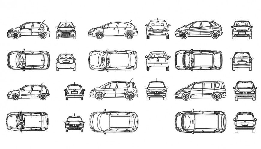 CAd drawings details of  top  and back elevation of small cars