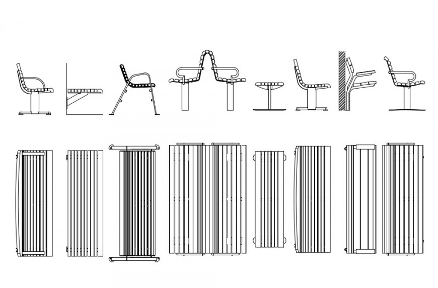 Cad Drawings Details Of Top Elevation Of Park Bench Cadbull
