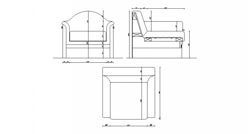 Cad drawings details of  top view of one seater  bent sofa