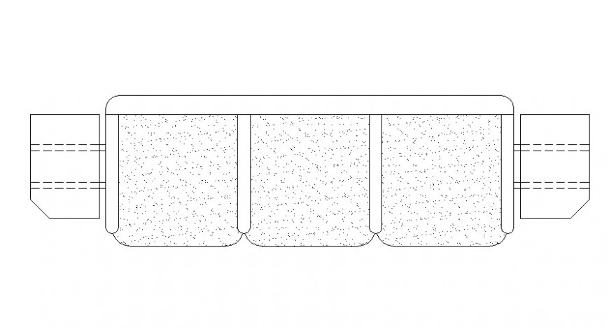 CAd drawings details of  top view of sofa three seater with two side table on both sides