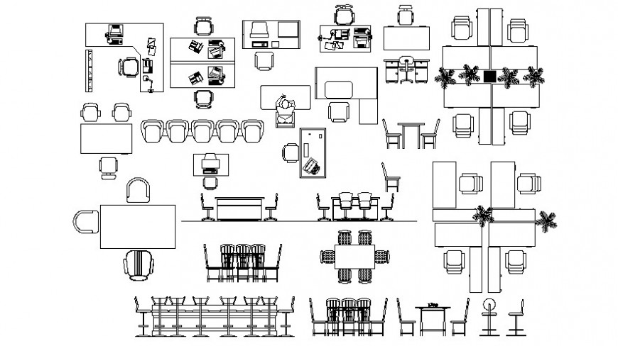 Cad drawings details of  work station  table and chair