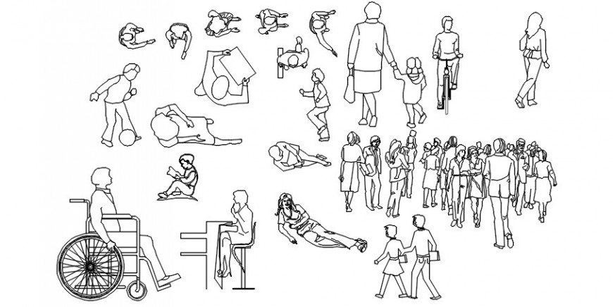 Cad drawings details of  sleeping and other activities people