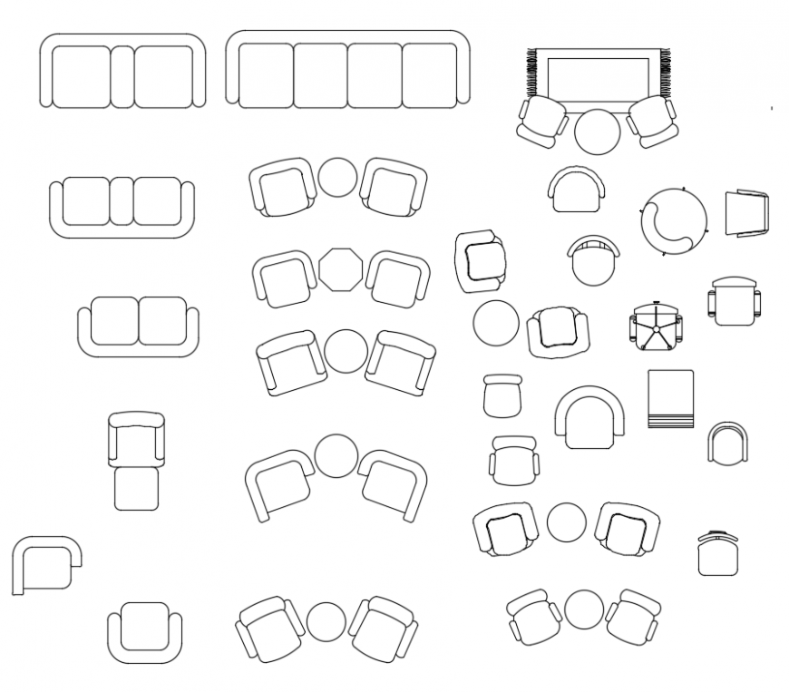 CAd drawings details of 2 seater sofa
