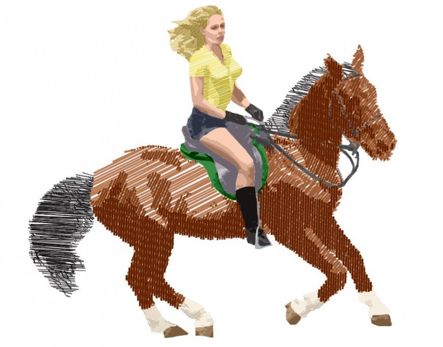 CAd drawings details of 3d running horse with girl