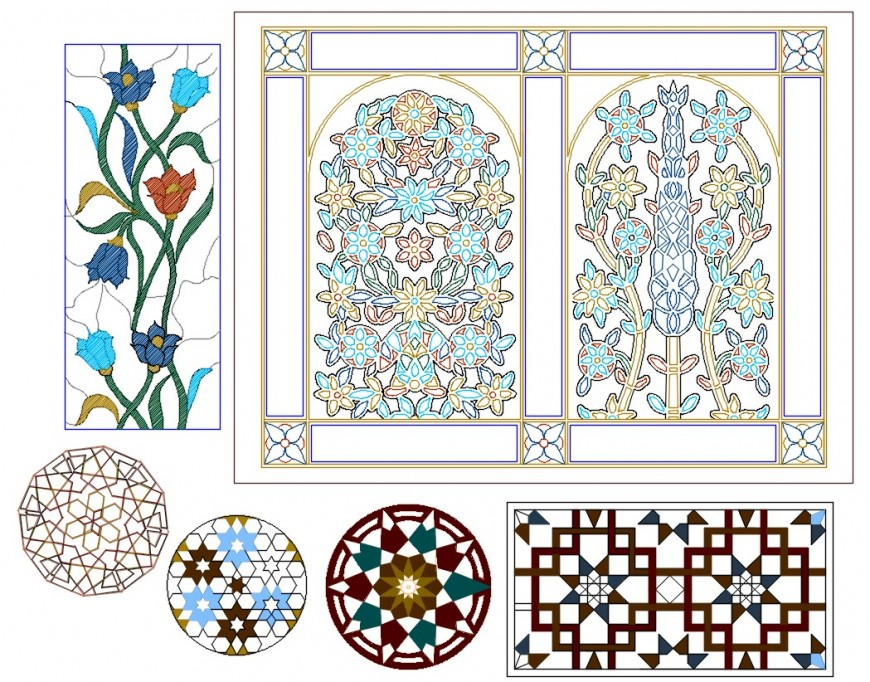 CAD drawings details of a top view of decorative wall and floor design