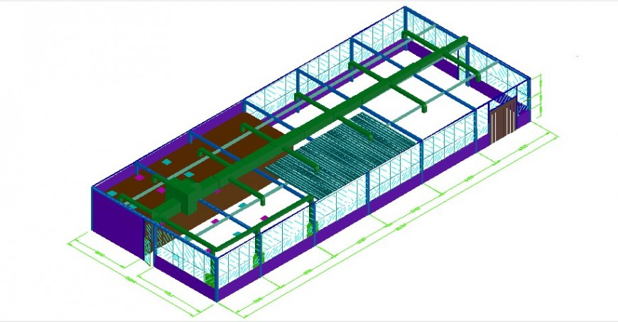 Cad drawings details of a top view of industry