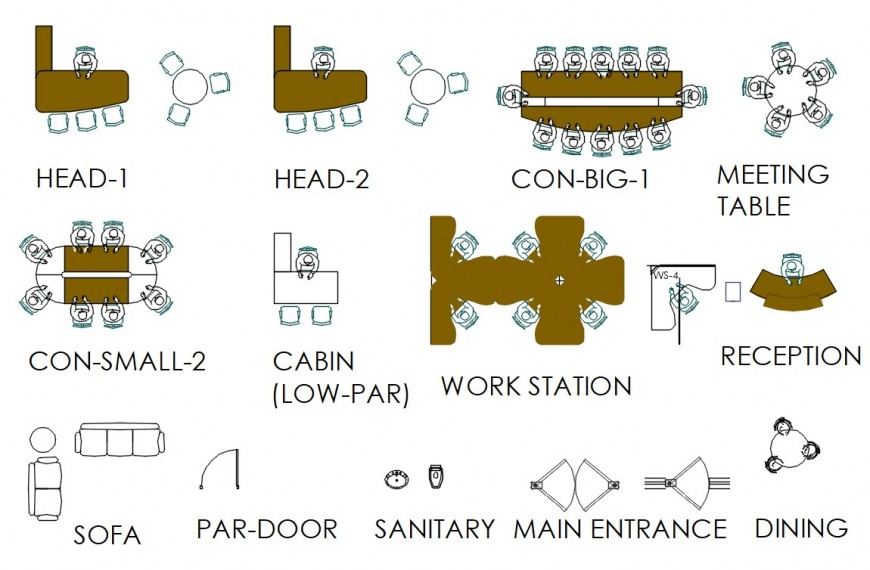 Cad drawings details of a top view of office furniture