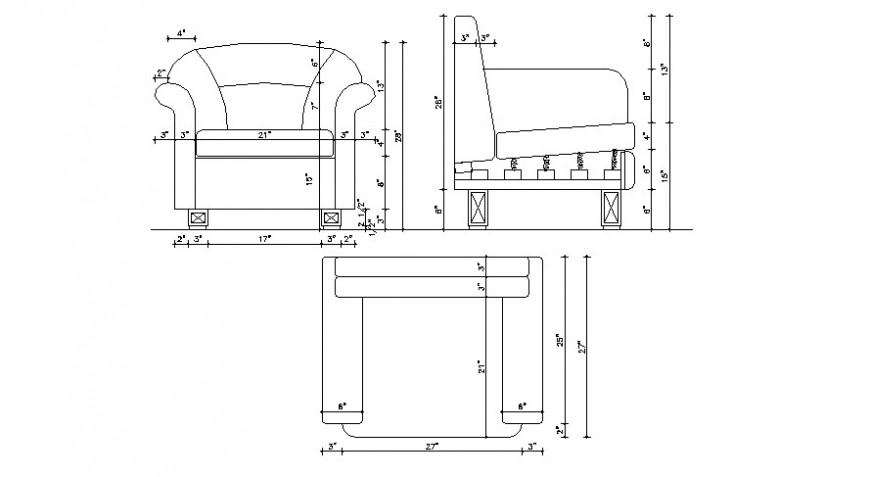 CAD drawings details of a top view of one seater sofa
