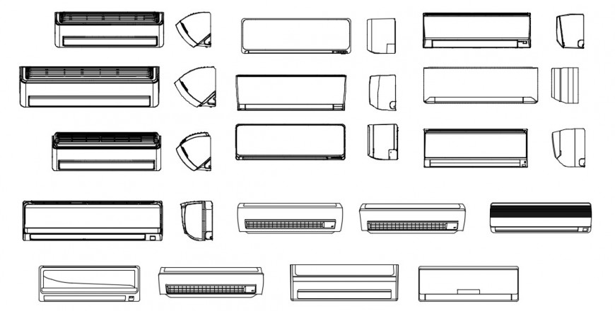 CAd drawings details of air conditioner spilled accessories