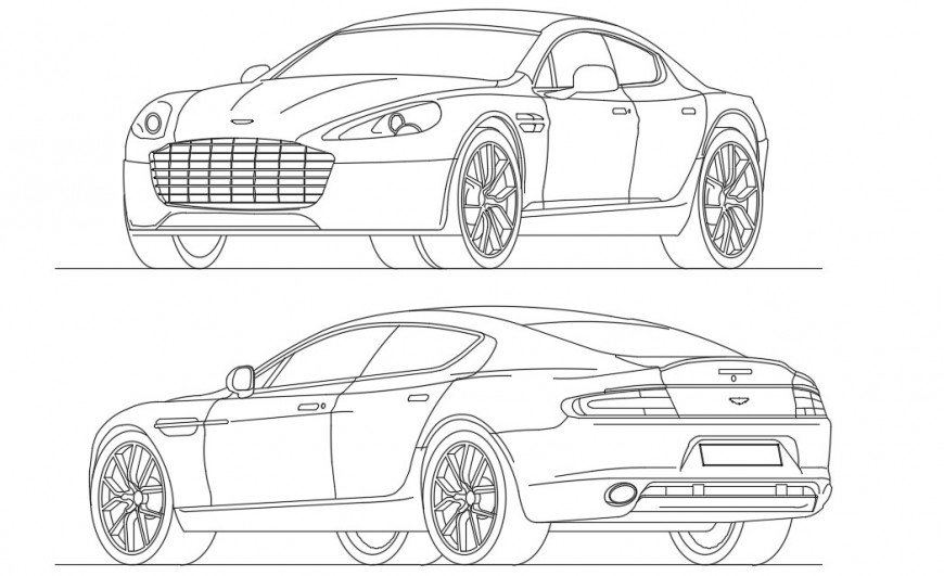 CAd drawings details of an aston martin rapid elevation car