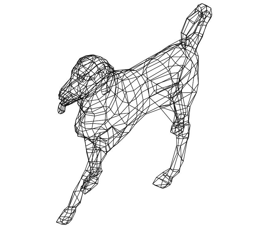 CAd drawings details of barking  3d dog
