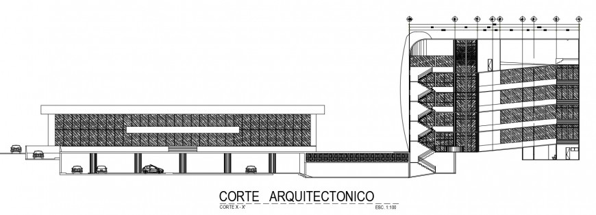 CAD drawings details of basement parking with building Section dwg file