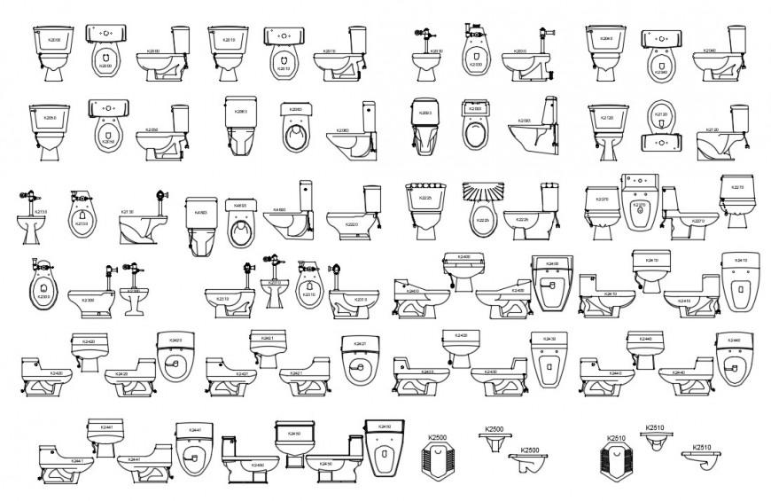 CAd drawings details of bathroom equipment
