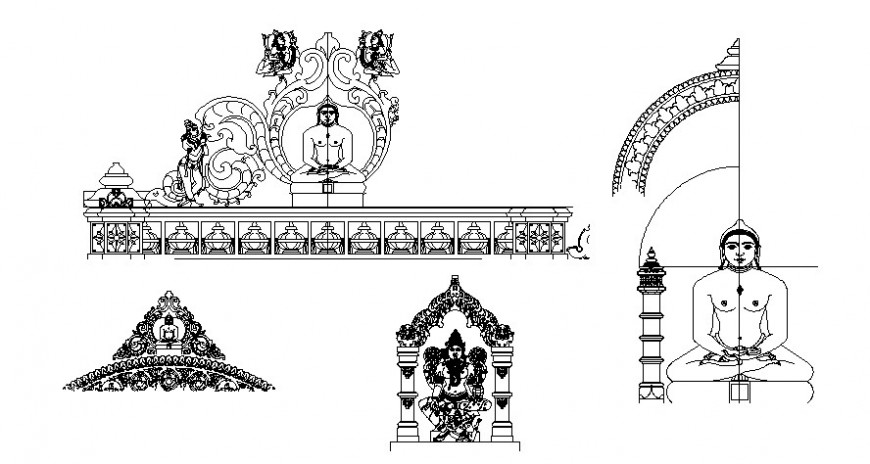 Cad drawings details of Buddha statue