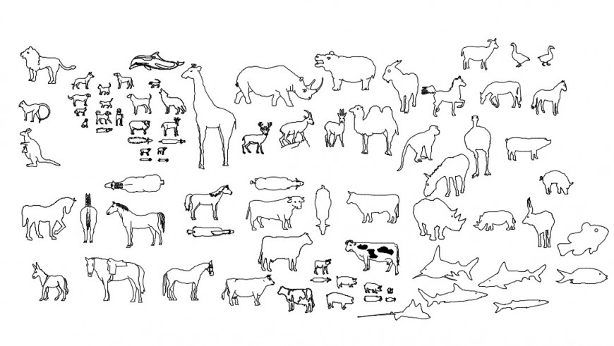 CAd drawings details of buffalo, cow, and calf, horse and deer