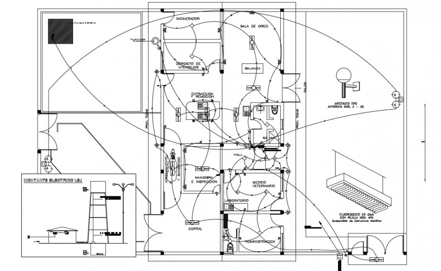 CAD drawings details of building electrical installation layout plan dwg file
