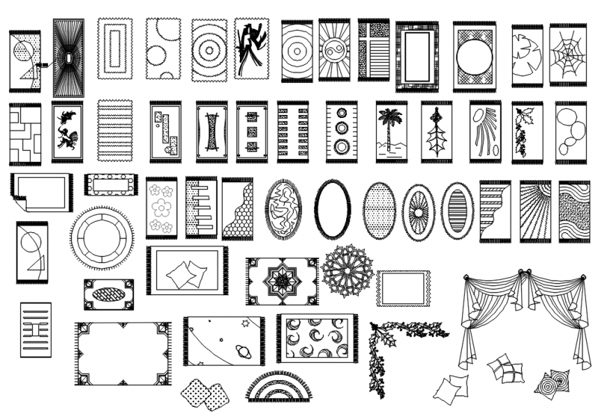 CAd drawings details of carpet and curtains
