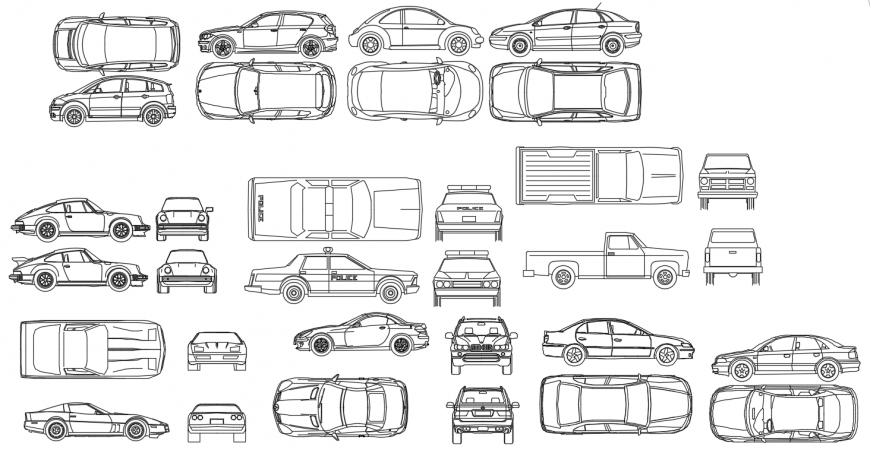Cad drawings details of cars elevation