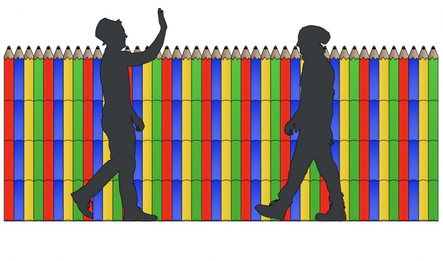 CAd drawings details of colourful  pencil fencing