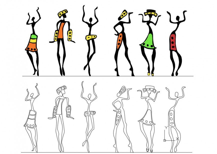 CAd drawings details of dancing girls