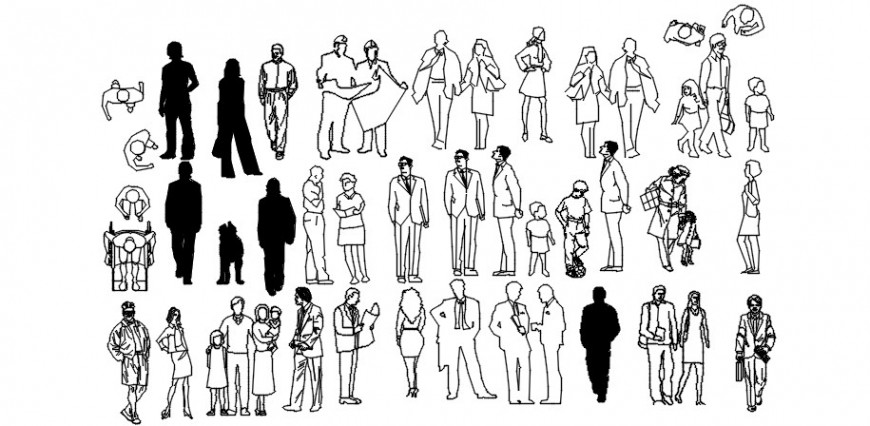 Cad drawings details of different type of people