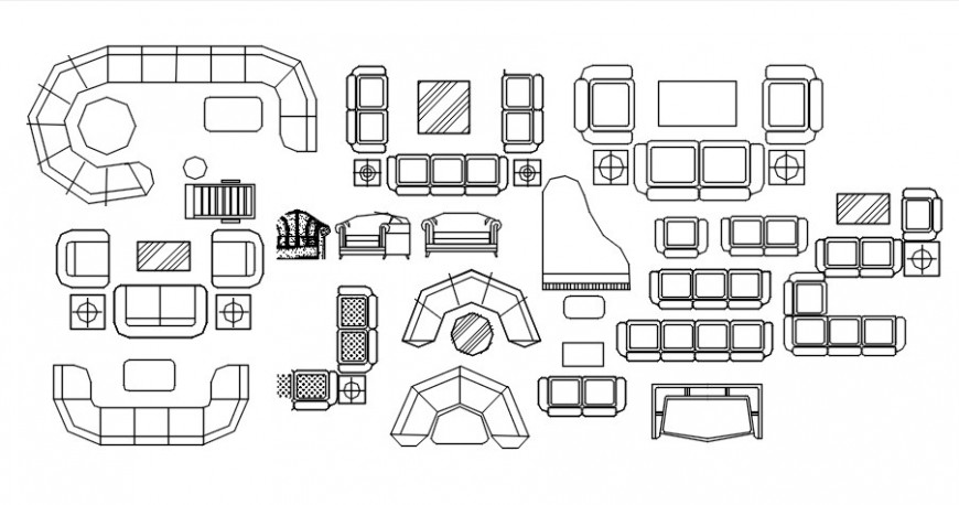 Cad drawings details of different type of sofas