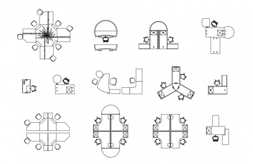 CAd drawings details of fancy four corned work table