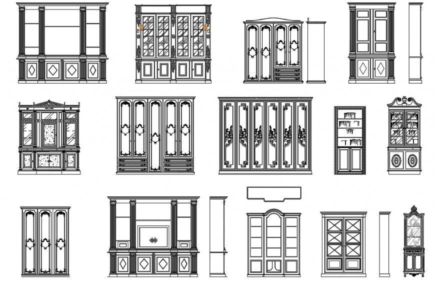 CAd drawings details of front   and side  elevation of bookcases