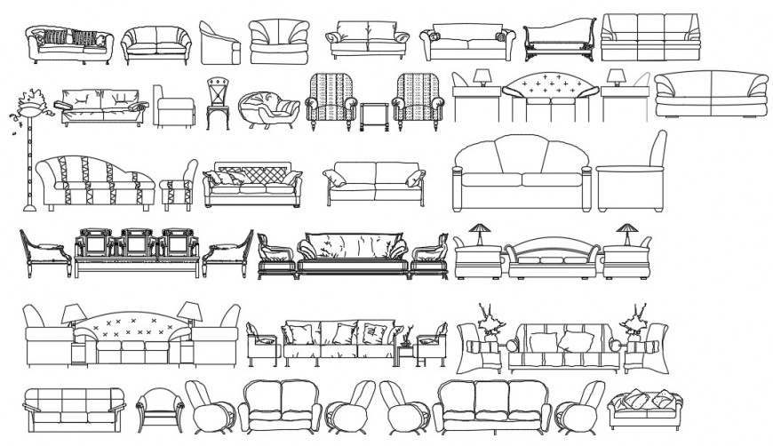 CAd drawings details of front , side elevation of  three-seater sofa