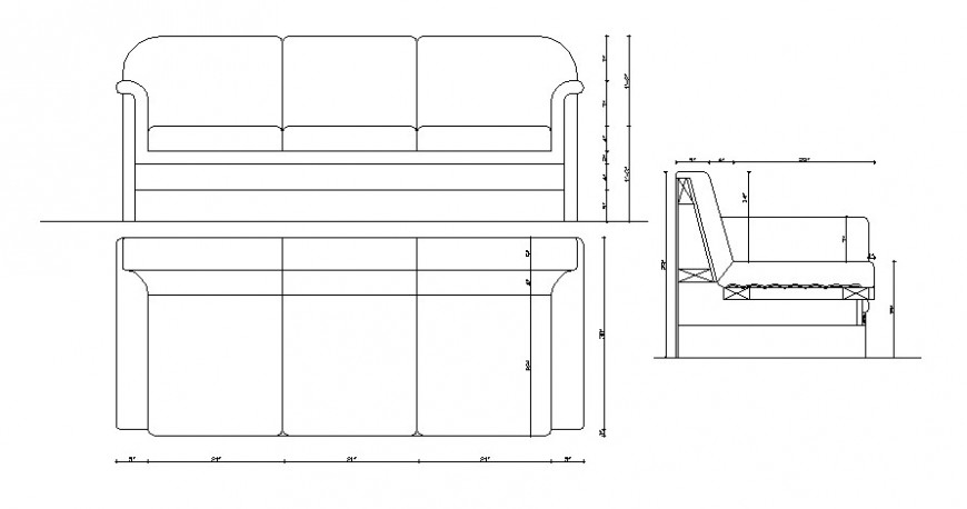 CAd drawings details of front and top  view of sofa three seaters with three elevation